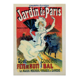 för de Paris för jardin för vintagebelleepoque Poster