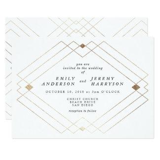 För Deco för geometrisk vit guld- inbjudan för
