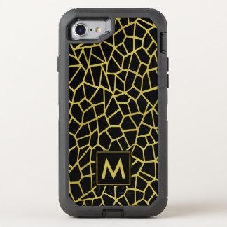 För Deco för guld svart exklusiv lyxig mosaik OtterBox Defender iPhone 7 Skal
