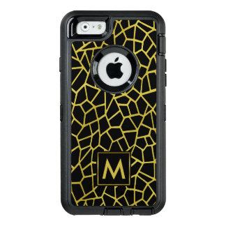 För Deco för guld svart exklusiv lyxig mosaik OtterBox Defender iPhone Skal