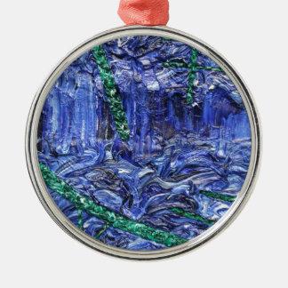 För designmönster för blått galet abstrakt arbete julgransprydnad metall