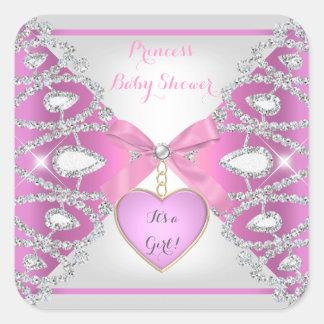 För diamantflicka för Princess baby shower rosor Fyrkantigt Klistermärke
