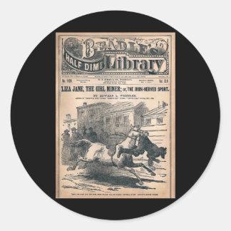 För Dimebibliotek för Beadles halv nr. 1120 1901 Runt Klistermärke