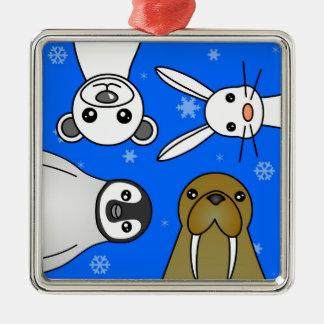 För djurblått för baby polar Snowflake Julgransprydnad Metall