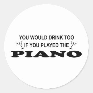 För drink piano för - runt klistermärke