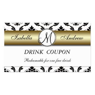För drinkkupong för damastast guld- bröllop fritt  set av standard visitkort