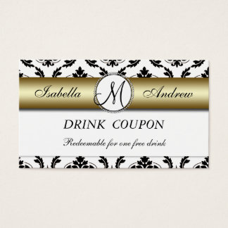 För drinkkupong för damastast guld- bröllop fritt visitkort