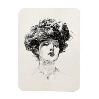 För Edwardian för vintageGibson flicka porträtt Magnet