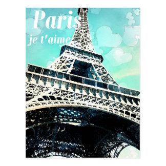"""För Eiffel """"för Paris jet'aime"""" Retro vykort torn"""