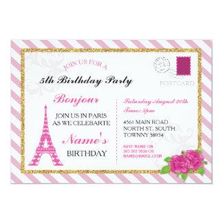 För Eiffel för Paris vykortfrankriken rosa 12,7 X 17,8 Cm Inbjudningskort