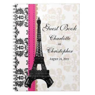 För Eiffel för shock rosa Parisian bok för gäst Anteckningsbok