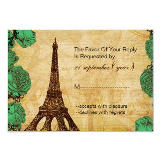 för eiffel för smaragd grönt bröllop OSA 3,5 x 5 8,9 X 12,7 Cm Inbjudningskort