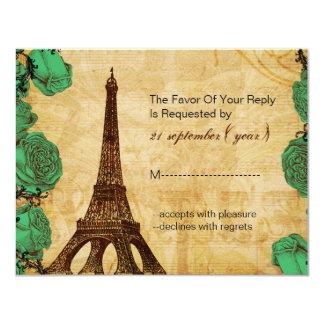 för eiffel för smaragd grönt Paris torn bröllop 10,8 X 14 Cm Inbjudningskort