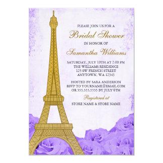 För Eiffel för vintage guld- möhippa för lilor 12,7 X 17,8 Cm Inbjudningskort