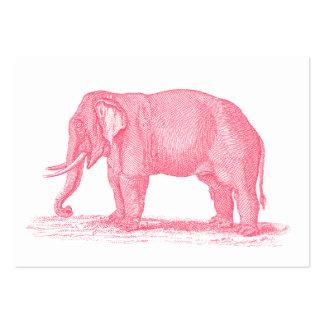 För elefant1800s för vintage rosa illustration för set av breda visitkort