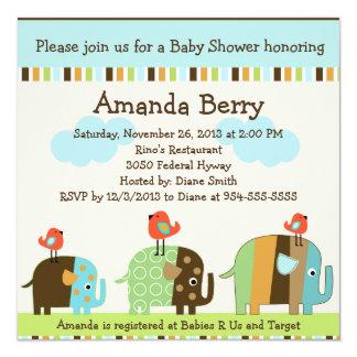 För elefantbaby shower för afrikan randig inbjudan