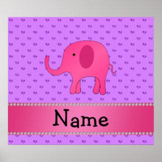 För elefantlilor för personlig kända rosa hjärtor print