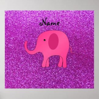 För elefantlilor för personlig känt rosa glitter print