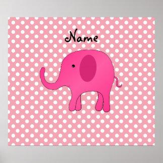 För elefantrosor för personlig känd rosa polka dot posters