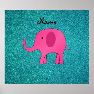 För elefantturkos för personlig känt rosa glitter print