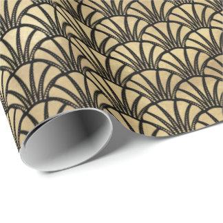 För elegantfläktar för art déco guld- mönster presentpapper