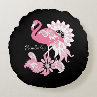 För elegantpersonlig för rosa Flamingo gullig Rund Kudde