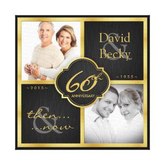 För elegantsvart- och guld 60th bröllopsdag canvastryck