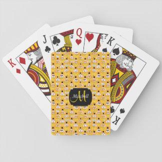 För Emoji för Monogram guld- gul design Smiley Casinokort