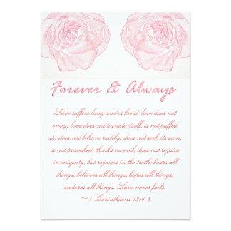 För evigt & alltid rosa Scripturebröllop 12,7 X 17,8 Cm Inbjudningskort