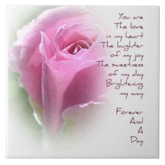 För evigt och en keramisk rosa dikt för dag stor kakelplatta