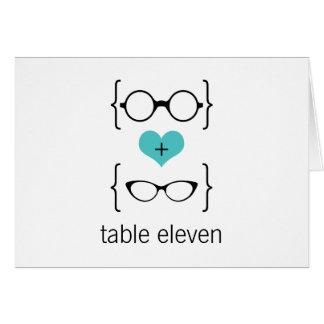 För exponeringsglasbordsnummer för Aqua Geeky kort
