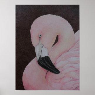 För fågelkonst för Flamingo original- tryck