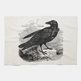 För fågelkråka för vintage korpsvarta svart fåglar kökshandduk