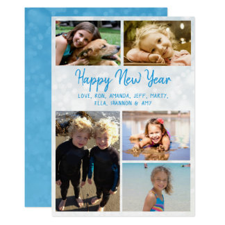 För familjfoto för gott nytt år stort kort 12,7 x 17,8 cm inbjudningskort