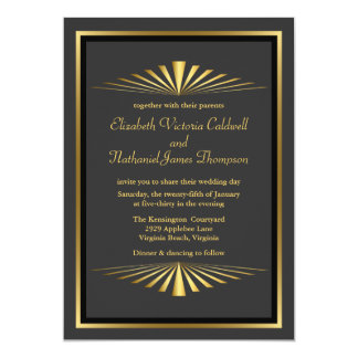 För fanfarbröllop för art déco guld- svart för 12,7 x 17,8 cm inbjudningskort