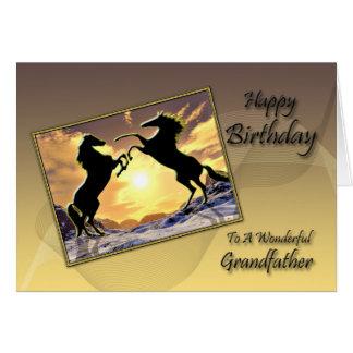 För farfar födelsedagkort med att fostra hästar hälsningskort