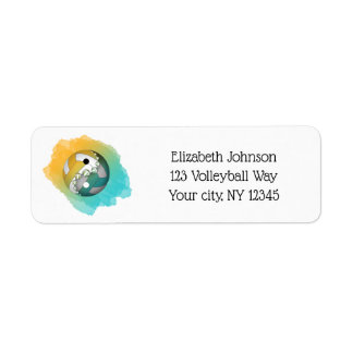för färgstänk för kricka guld- för yang för yin returadress etikett