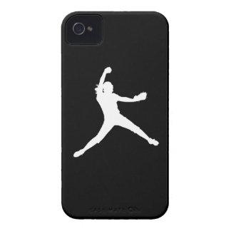 för Fastpitch för iPhone 4 vit Silhouette på svart iPhone 4 Skydd