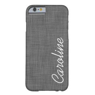 För Fauxlinne för kol grå Monogram för Barely There iPhone 6 Skal