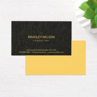 För Fauxlinne för professionell svart Minimalist Visitkort