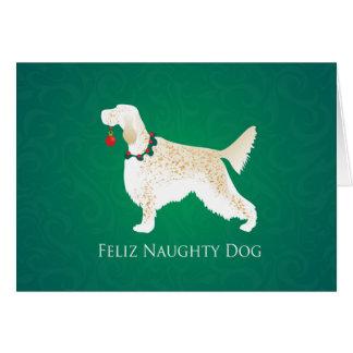 För Feliz för engelsk Setter jul stygg hund Hälsningskort