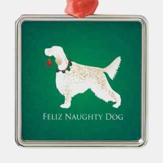 För Feliz för engelsk Setter jul stygg hund Julgransprydnad Metall