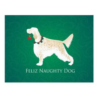 För Feliz för engelsk Setter jul stygg hund Vykort