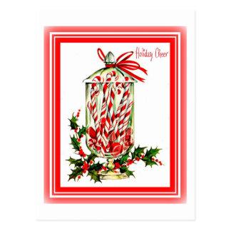 För festcandy cane för vintage söt burk vykort