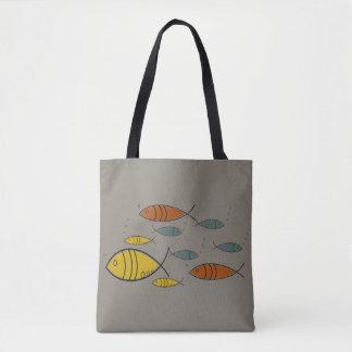 För fisksimning för mitt- århundrade modernt Retro Tygkasse