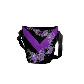 För fjärilsblomma för lilor svart mönster kurir väskor