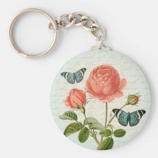 För fjärilselegant för vintage rosa blom- keychain rund nyckelring