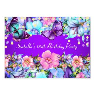 För fjärilsfödelsedagsfest för kricka purpurfärgad 12,7 x 17,8 cm inbjudningskort