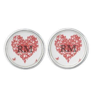 För fjärilshjärta för Persimmon rosa Cufflinks