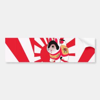 För flaggalycka till för gullig Anime japansk katt Bildekal